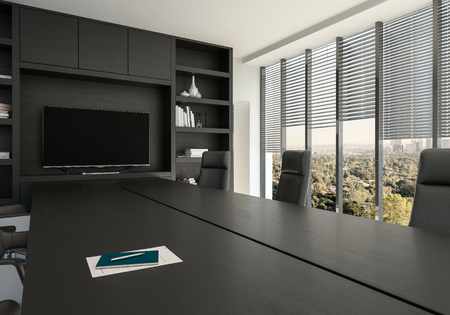 Business conference room with large windows overlooking a leafy city in a close up view on a black table and chairs. 3d render