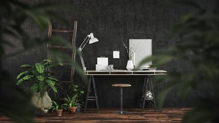Modern dark office interior with trestle desk and stool on a wooden floor viewed through the leaves of green potted plants. 3d render Lizenzfreie Bilder