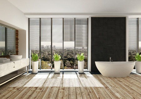 floorboards: Landscape view of a room with large wide window with view of trees with multiple plants in white pots and big white tub