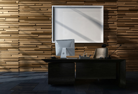 Modern office with blank picture frame hanging on a feature tiled wall above a small desk with computer. 3d render Lizenzfreie Bilder