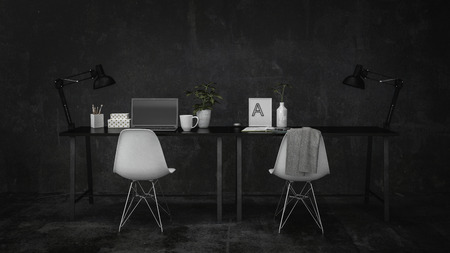 Small modern desk and writing table in a dark grey monochromatic room with two chairs, an angle poise lamp and a computer. 3d render Lizenzfreie Bilder