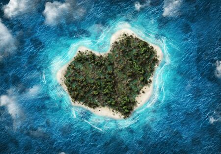 Aerial view of heart-shaped island with blue sea. 3d Rendering.