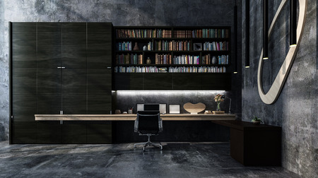 Monochromatic luxury grey modern office interior with long table style desk, chair and bookcase full of books. 3d render.