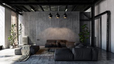 Salon moderne minimaliste avec canapés en style loft. Rendu 3D Banque d'images