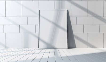 floorboards: Front view of a white mirror or white large picture frame and white square pattern wall and rectangle patterned floor