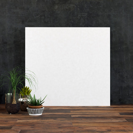 Large Square Blank White Picture Frame Or Canvas On A Wooden.. Stock ...