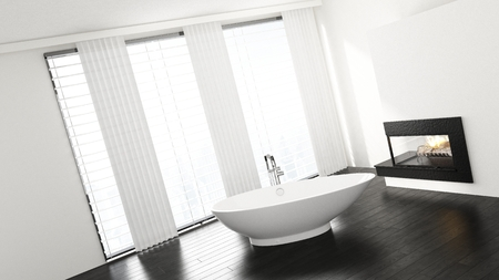 Slanted view of porcelain bathtub in minimalist bright bathroom with fireplace