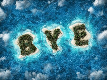 An aerial view of the word bye written in lush palm trees on a tropical sandy island surrounded by blue ocean and clouds.