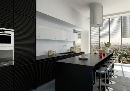 Stylish contemporary black and white kitchen interior with fitted appliances and a bar counter with designer stools. 3d render