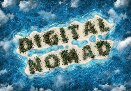 An aerial view of the words digital nomad written in lush palm trees on a remote, tropical sandy island surrounded by blue ocean and clouds.