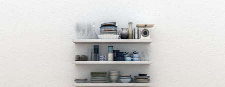 Panorama of open shelves with assorted kitchen ceramics, crockery, pie dishes and scale against a white wall with copy space. 3d render Lizenzfreie Bilder