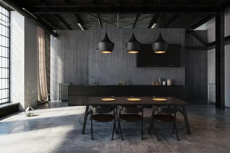 Zona de comedor moderna e inconformista en una conversión industrial tipo loft con luces de techo que iluminan la mesa, paredes de concreto y ventanas grandes. Render 3d