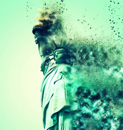 Conceptual image of the Statue of Liberty crumbling in a cloud of dust and debris after being hit by an explosion or earthquake