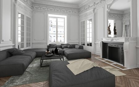 living room sofa: Luxury apartment living room interior with classical wall moldings, mirror, fireplace and upholstered grey furniture lit by bright windows, 3d render Stock Photo