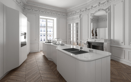 Modern luxury white fitted kitchen with a large centre island, herringbone parquet floor, fireplace and classical ceiling moldings. 3d render