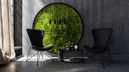 windows frame: Two chairs with small table standing by round moss wall art