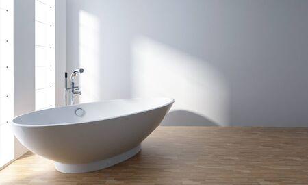 White bathtub in modern minimalist bathroom with wooden floor Lizenzfreie Bilder