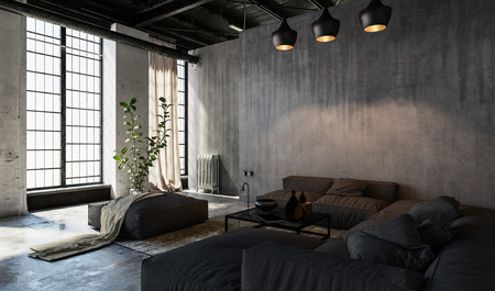 Large windows in loft style spacious furnished living room Banque d'images