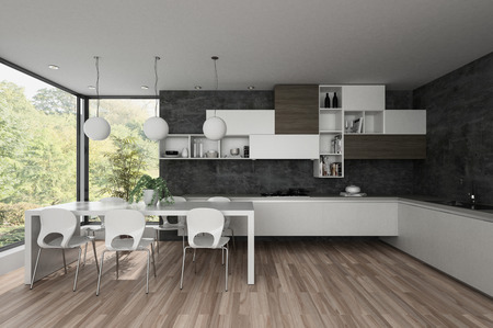 appliance: Large spacious open plan modern kitchen with dining table and dark grey walls over fitted cabinets lit by sunlight through a view window overlooking a park. 3d render Stock Photo