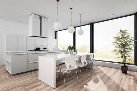appliance: Modern white open plan kitchenette with fitted cabinets and appliances and a contemporary dining table and chairs in front of large bright view windows. 3d render