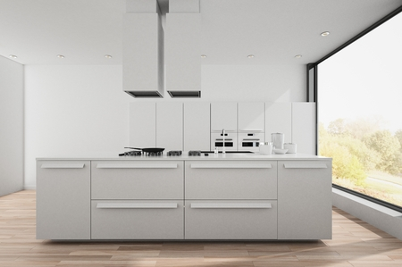 appliance: Modern bright white fitted kitchen with center island, wood floor and large window overlooking a sunlit garden. 3d render