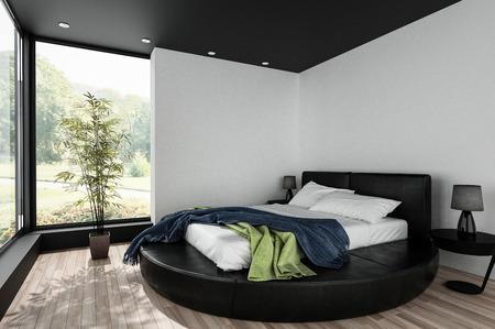 Minimalistisches geräumiges, helles Schlafzimmer mit einem runden Kingsize-Bett