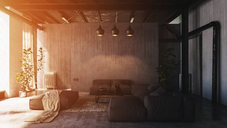 Sunlight shining through large window into spacious loft living room with sofas