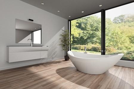 Modern spacious bright bathroom with white bathtub