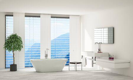 Bright modern minimalist spacious bathroom with white houseplant standing by porcelain bathtub