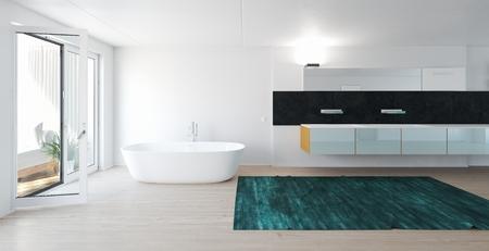 Modern bright spacious bathroom with white bathtub and large windows
