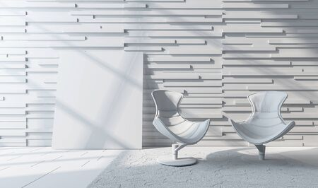 Modern futuristic white chairs in front of white horizontal rectangle patterned wall on top of white carpet