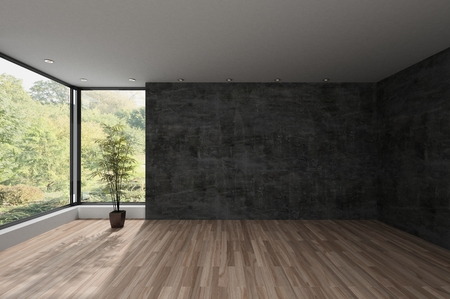Spacious empty room with large view window overlooking an extensive park with trees. 3d render