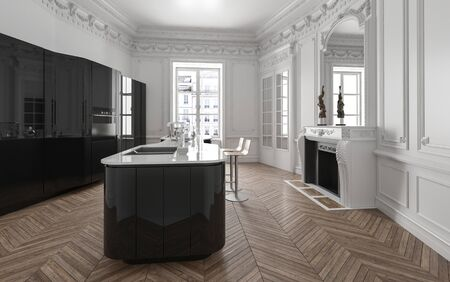 Kitchen island in stylish bright spacious flat with wooden parquet