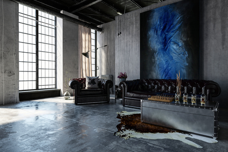 A contemporary, industrial polished concrete living room interior with leather lounges and bright, tall windows.