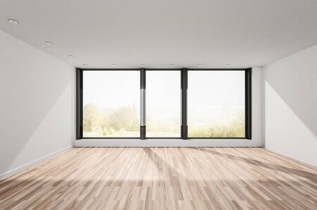 Unfurnished empty bright room with wooden floor and large window