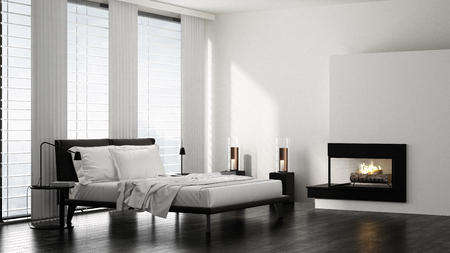 Double bed in modern bright minimalist bedroom with fireplace