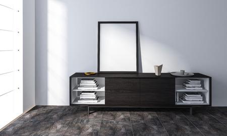 Empty frame standing on cabinet with books in bright minimalist room Lizenzfreie Bilder