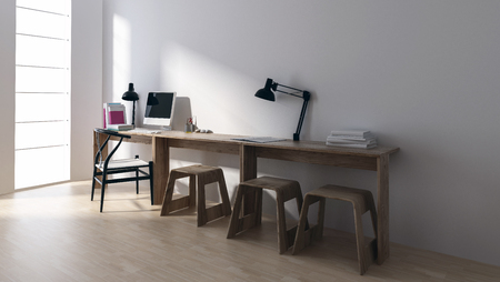 Minimalist workstation in bright room with large windows