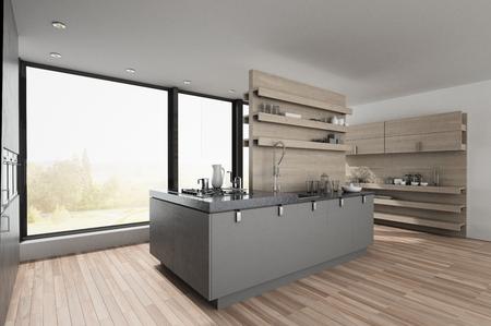 Centre island in a large spacious modern kitchen with hardwood floor and view window overlooking a garden. 3d render Lizenzfreie Bilder
