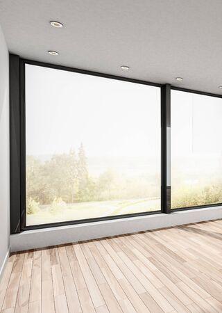 Large empty room with hardwood floor and view windows overlooking a sunlit garden. 3d render Lizenzfreie Bilder