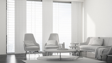 Fresh monochromatic white living room interior with a modern chrome upholstered lounge suite, rug and coffee table in front of bright windows. 3d render
