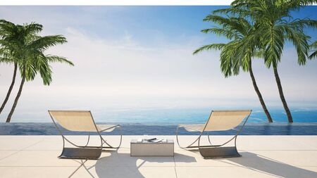 Rear view of two empty lounge chairs on a waterfront tiled sunny terrace against sea in an idyllic tropical travel destination with green palm trees