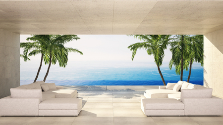 Luxury modern living area in a tropical villa with white lounge site and view over the ocean and palm trees. 3d render Lizenzfreie Bilder