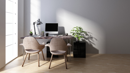 Computer workstation with two chairs in minimalist bright room. 3d Rendering