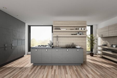 Very large spacious luxury modern kitchen with built in appliances and cabinets, wood floor and centre island backed by a large window. 3d render Lizenzfreie Bilder