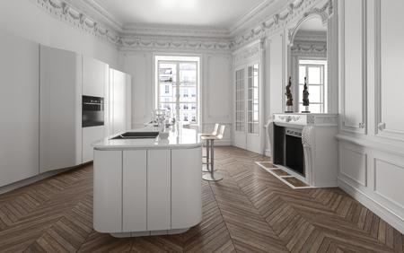 Open plan modern luxury kitchen interior with fitted appliances, centre island with sink and herringbone pattern wood parquet floor in a classic home. 3d render Lizenzfreie Bilder