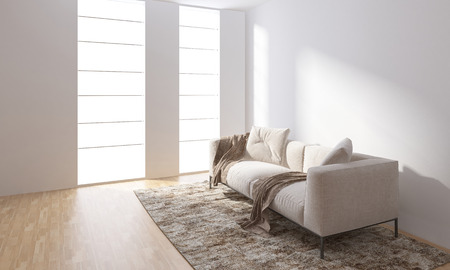 Bright room with empty white walls and sofa standing on carpet