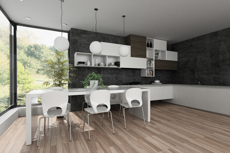 Stylish modern black and white kitchen interior with fitted appliances and open plan dining area in front of a large view window. 3d render