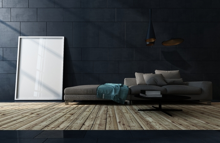 Low dark brown sofa against a black tiled wall in a low angle view over a wood floor of a living room interior with blank white picture frame leaning on the wall. 3d render