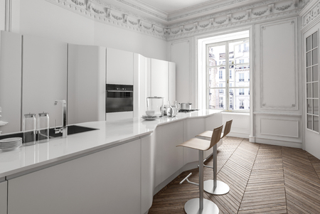 Classic white apartment interior with luxury fitted kitchen with large centre island, wooden parquet floor and bright window. 3d render